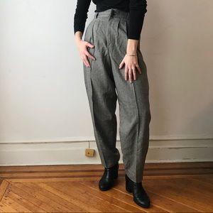 vintage herringbone high waist wool trouser pants